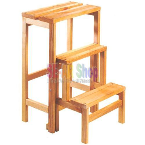 14861 scaletta sgabello legno gradini 3 n d for Gradini in legno massello prezzo